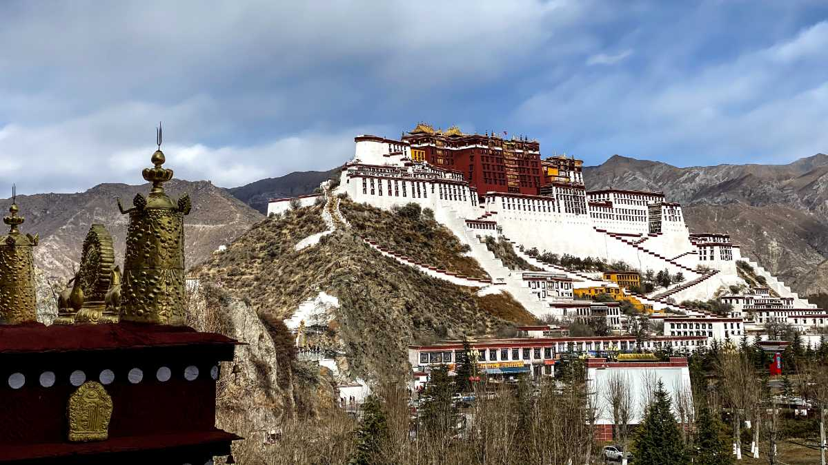 View of Potala Palace from Palubuk Monastery in Lhasa.