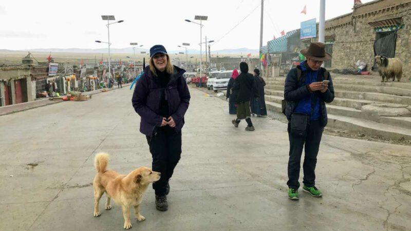 Yolanda in Darchen at the foot of Mt Kailash