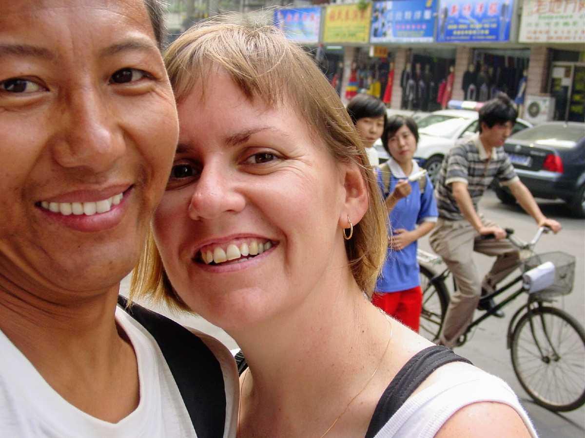 Yolanda and Lobsang in Chengdu in 2002.